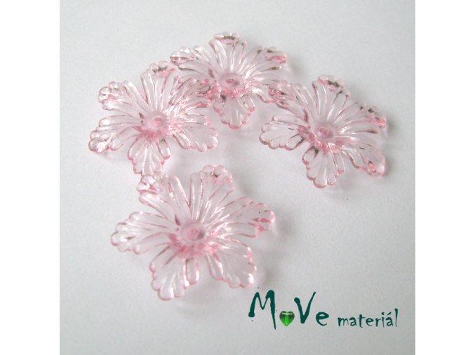 Akrylový květ 27,5mm, 4ks, světle růžový