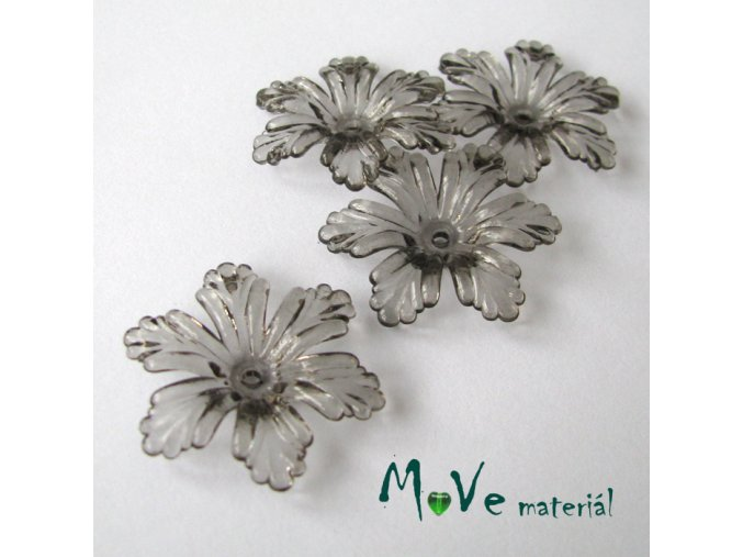 Akrylový květ 27,5mm, 4ks, šedý
