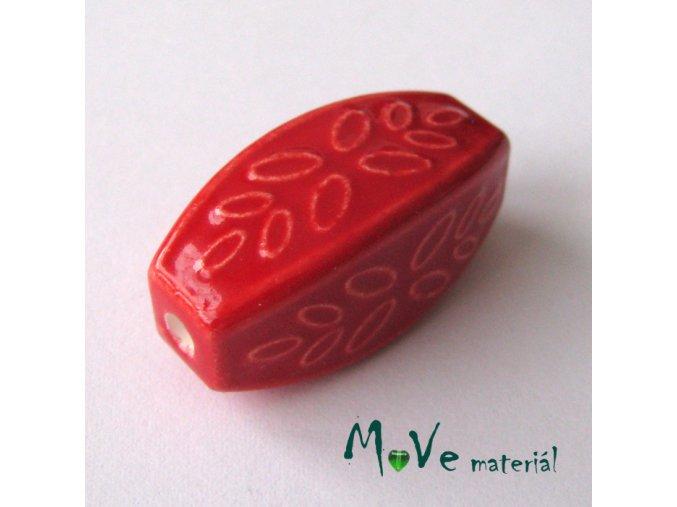 Korálek porcelánový 31x14x14mm, 1ks, červený