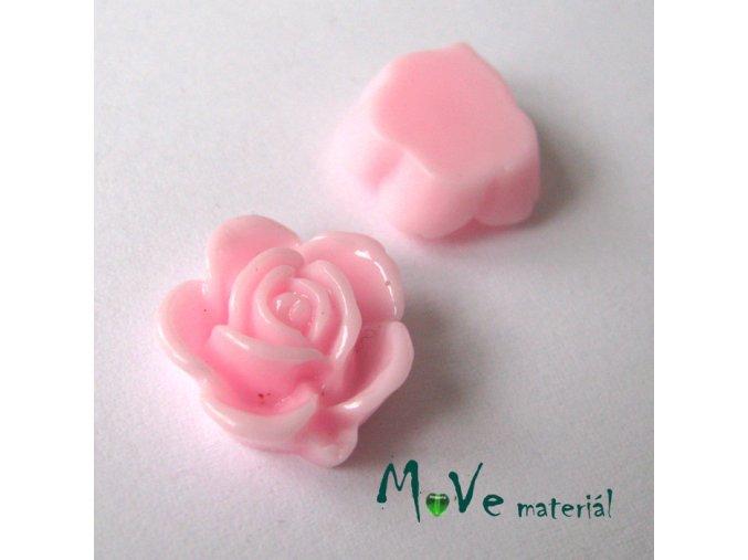 Kabošon květ lesklý B5 - resin - 2ks, růžový