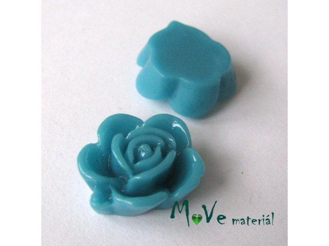 Kabošon květ lesklý B5 - resin - 2ks, modrozelený