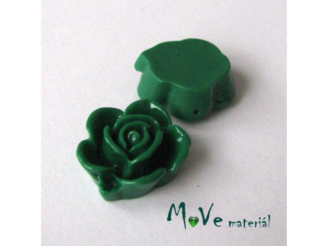 Kabošon květ lesklý B5 - resin - 2ks, tm. zelený