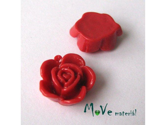 Kabošon květ lesklý B5 - resin - 2ks, tm. červený