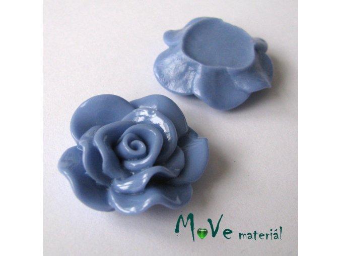 Kabošon květ lesklý B1 - resin - 1ks, modrý