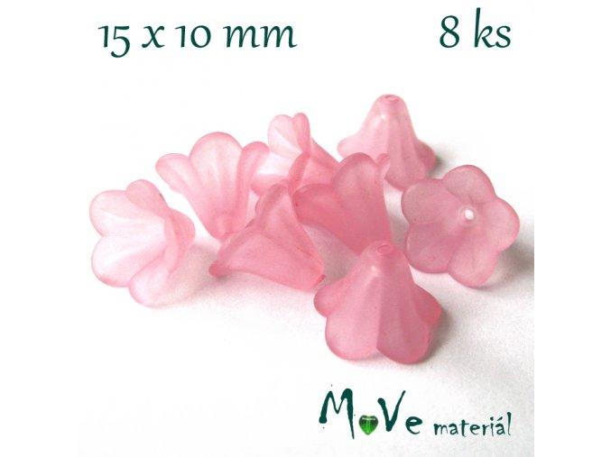Zvonečky transparentní 15x10mm, 8ks, sv. růžové
