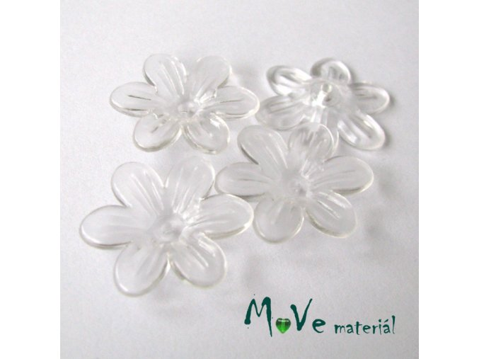 Akrylový transparentní květ 25mm, 4ks, čirý