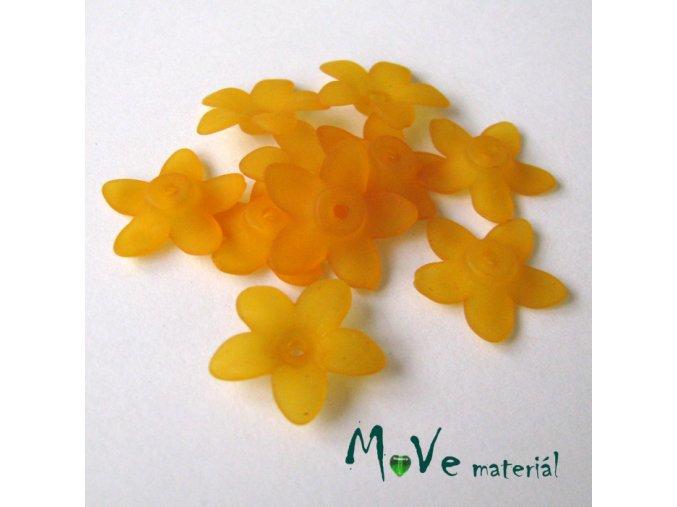 Akrylové transparentní květy 17x4mm, 10ks, oranž.