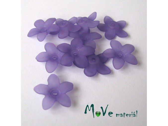 Akrylové transparentní květy 17x4mm, 10ks, fialové