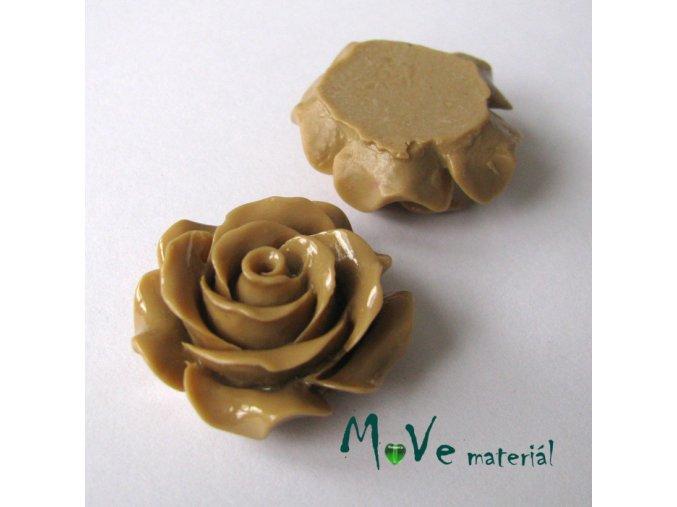 Kabošon květ lesklý C1 - resin - 1ks, béžový