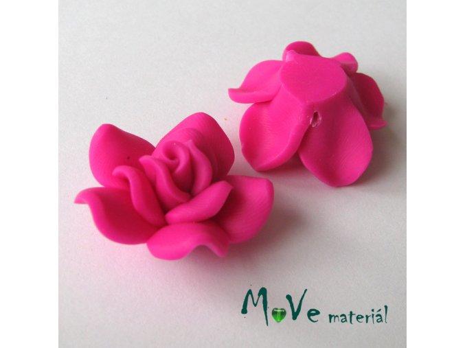 Polymerový korálek KVĚT, 1ks, tmavě růžový