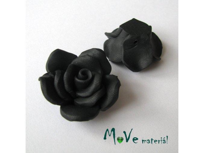 Polymerový korálek KVĚT, 1ks, černý