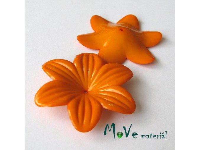 Akrylový květ 42mm, 1ks, oranžový