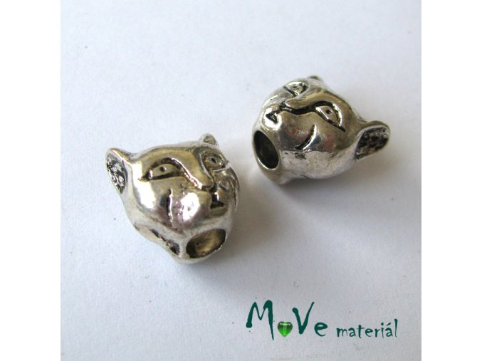 Korálek kovový kočka, 1kus, starostříbro