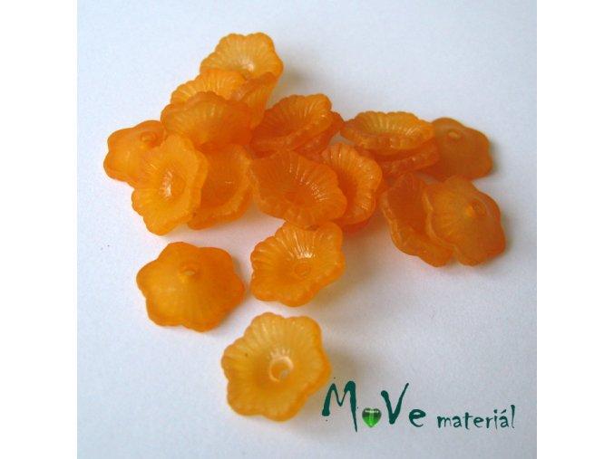 Transpar. akrylové kytičky 11x4mm, 20ks, oranžové