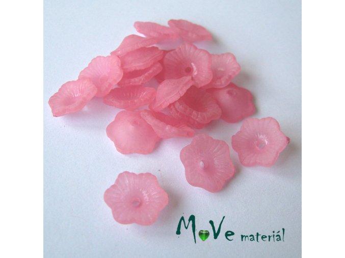 Transpar. akrylové kytičky 11x4mm, 20ks, růžové