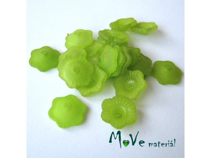 Transpar. akrylové kytičky 11x4mm, 20ks, zelené
