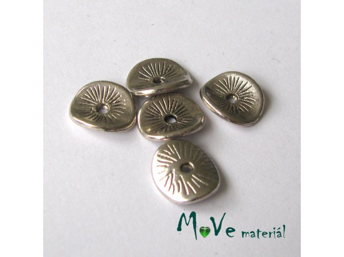 Korálek kovový disk 9,5x8,5mm, 5ks, starostříbro