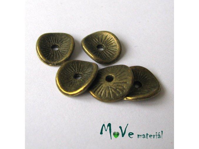 Korálek kovový disk 9,5x8,5mm, 5ks, staromosaz
