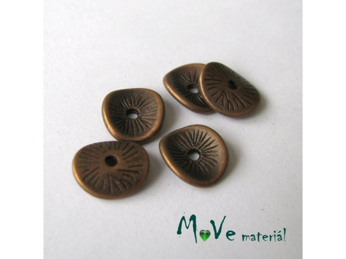 Korálek kovový disk 9,5x8,5mm, 5ks, staroměď