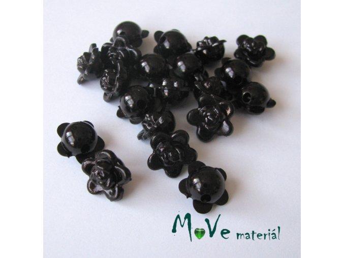 Akrylové korálky kytičky 10x6mm, 20ks, černé