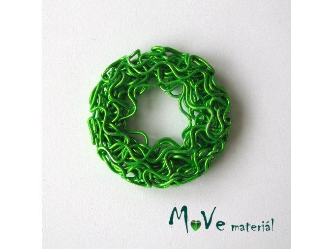 Kovový korálek donut, 30mm, 1ks, zelený, II.jakost