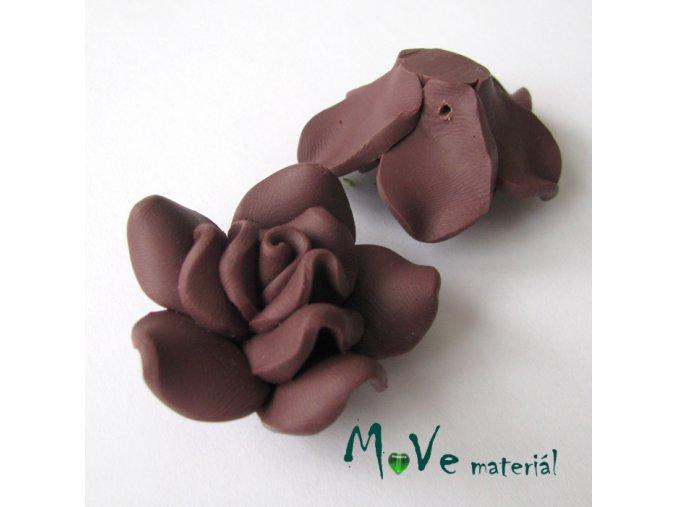 Polymerový korálek KVĚT, 1ks, hnědočervený