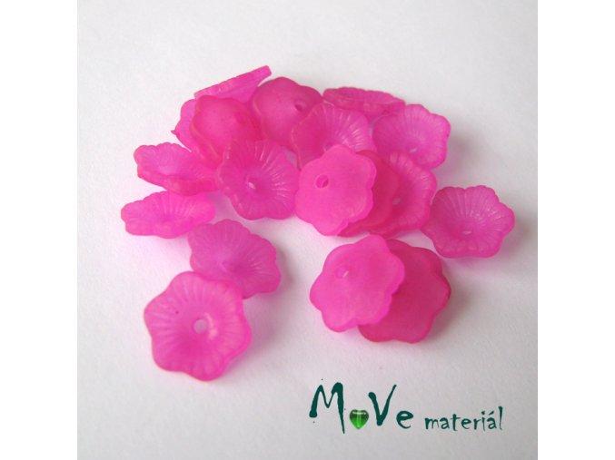 Transpar. akrylové kytičky 11x4mm, 20ks, tm.růžové