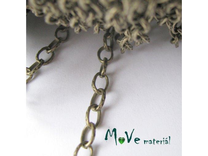 Řetízek kovový - 4,5x7mm, délka 1m, staromosaz