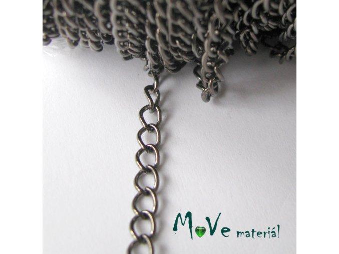 Řetízek kovový šíře 5x3mm, délka 1m, antracit