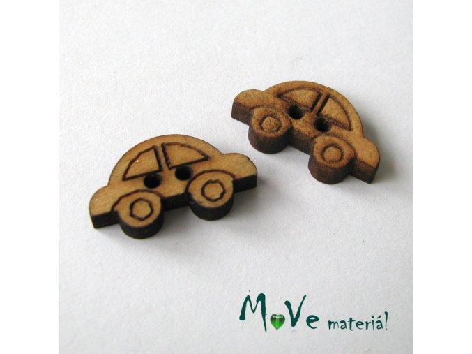 Knoflík kokosový autíčko 20x12mm, 2ks