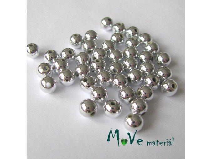 Akrylový korálek stříbrný cca 45ks, 6mm/5g