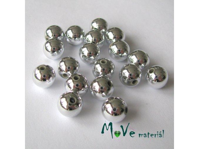 Akrylový korálek stříbrný cca 18ks, 8mm/5g