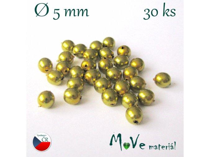 České voskové perle zlatožlutá 5mm, 30ks
