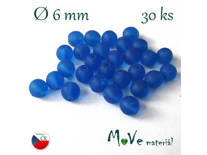 České skleněné modré matné kuličky 6mm 30ks