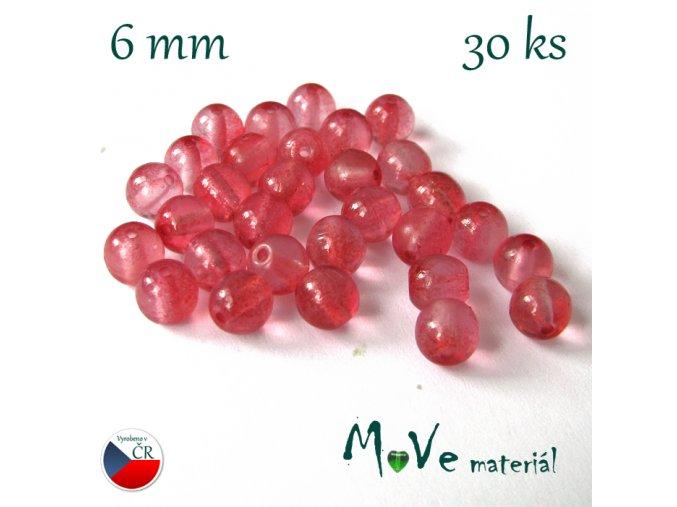 České skleněné růžové kuličky 6mm 30ks