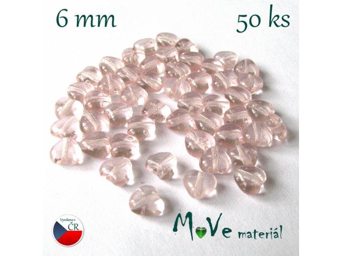 Česká růžová srdíčka 6mm 50ks