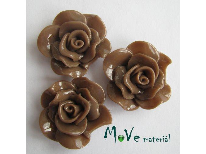 Kabošon květ lesklý resin/3ks/hnědý./II. jakost