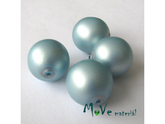 České voskové perle ledově modré 16mm, 4ks