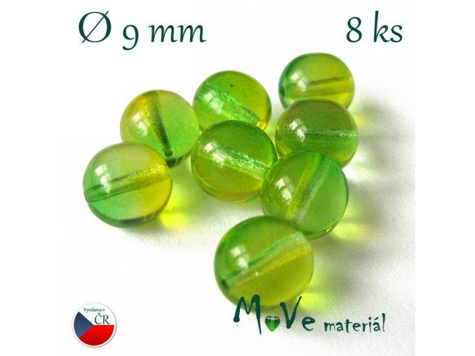 České skleněné žlutozelené kuličky 9mm 8ks