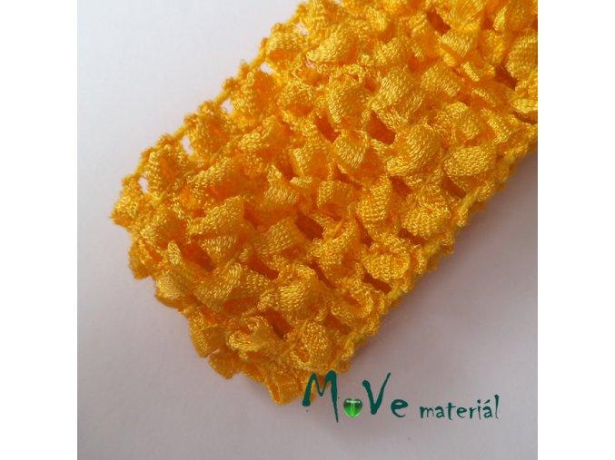 Dětská elastická háčkovaná čelenka, 1kus, tm.žlutá