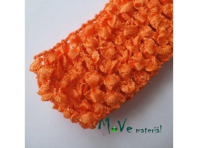 Dětská elastická háčkovaná čelenka, 1kus, oranžová