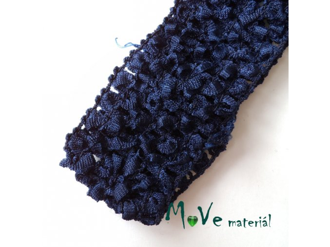 Dětská elastická háčkovaná čelenka, 1kus, tm.modrá