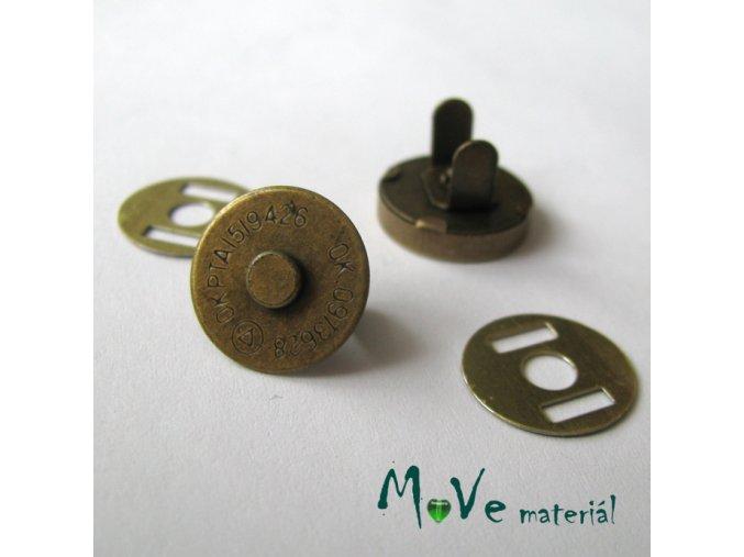 Zapínání magnet 14mm, staromosaz, 1kus