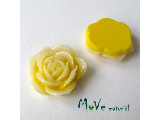 Kabošon květ lesklý C3 - resin - 1ks, žlutý