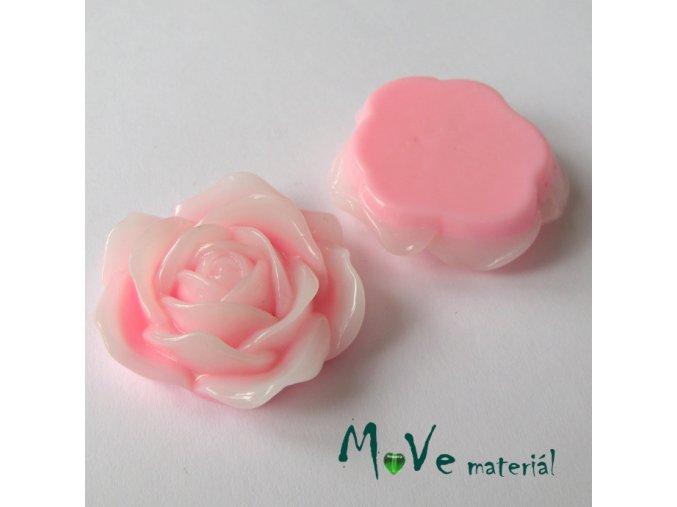 Kabošon květ lesklý C3 - resin - 1ks, růžový