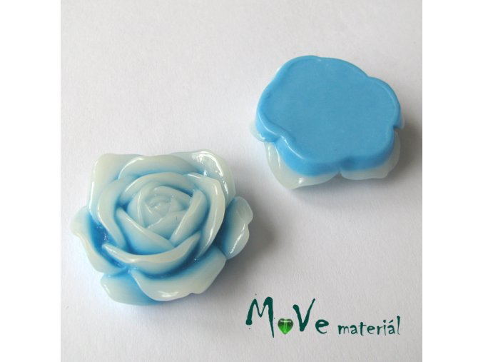 Kabošon květ lesklý C3 - resin - 1ks, modrý
