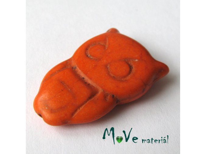 Tyrkenitová sova 28x19x8mm, 1ks, oranžová