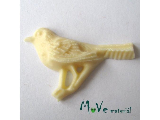 Kabošon ptáček - resin - 1ks, žlutý