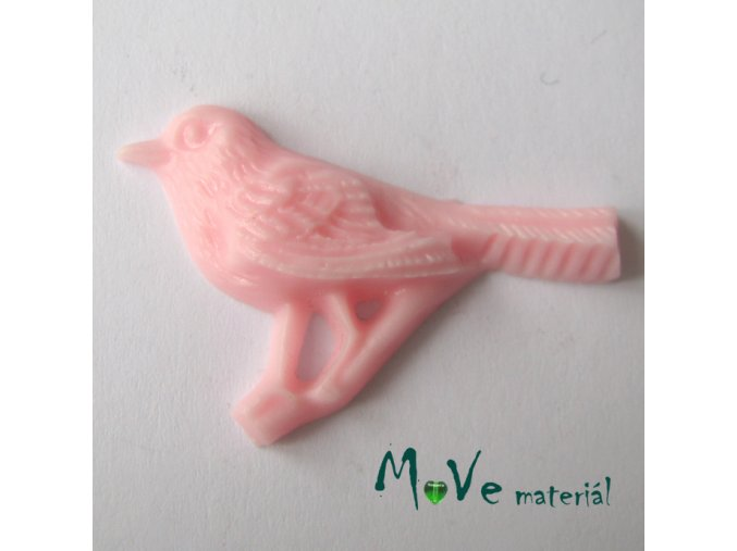 Kabošon ptáček - resin - 1ks, růžový