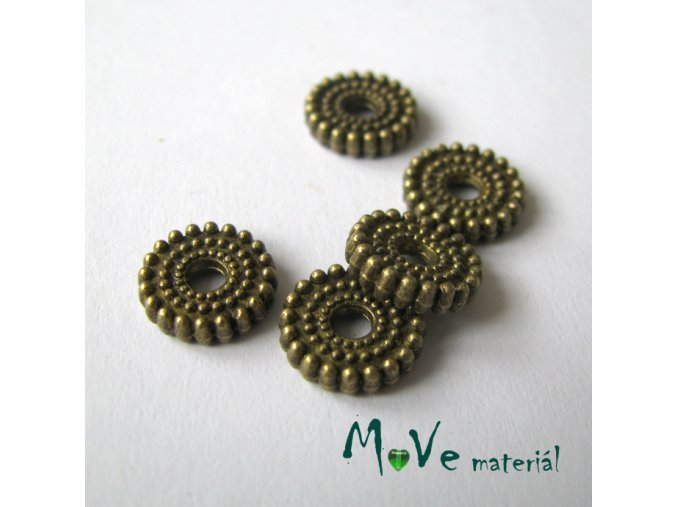 Korálek kovový kruh 10x2mm, 5ks, staromosaz